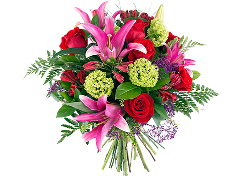 Precioso ramo de rosas y lirios