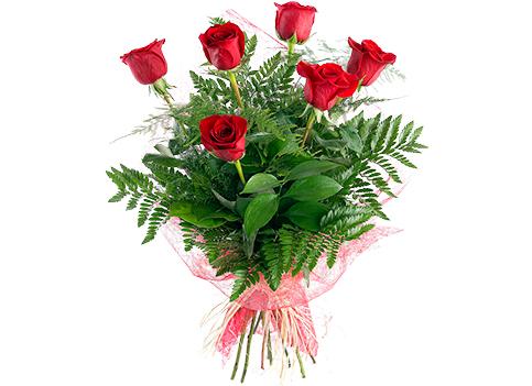 Ramo de rosas rojas  de tallo largo