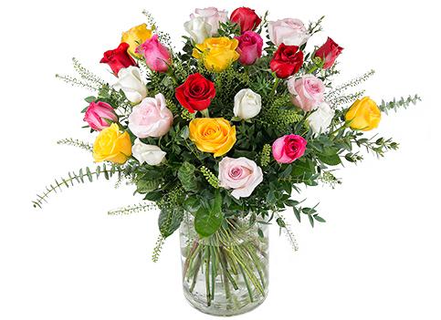 Impresionante arreglo de rosas multicolor