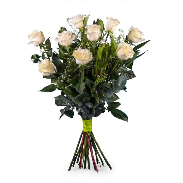 Nona, 9 Rosas Blancas de Tallo Largo