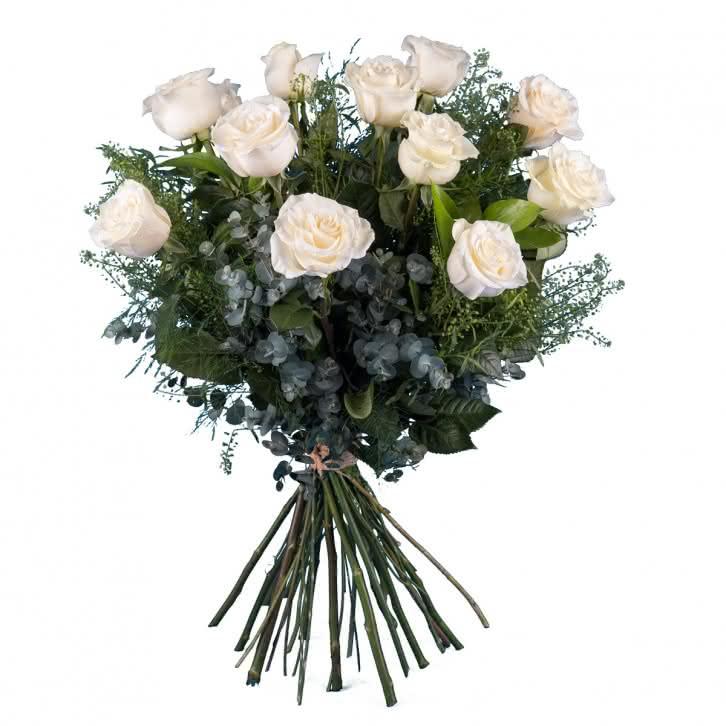 Emoción, 12 Rosas Blancas  de Tallo Largo