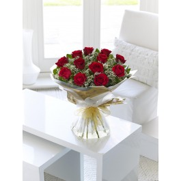 12 Red Long Stem Roses Hand-tied, 12 Red Long Stem Roses Hand-tied