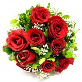 12 red roses with filler, 12 red roses with filler