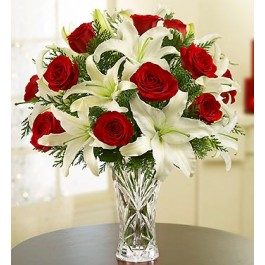 Arrangement of Red Roses and White Liliums in Vase, AZ#4221 Arrangement of Red Roses and White Liliums in Vase