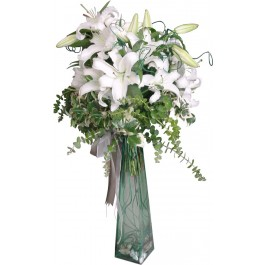 Arrangement of White Liliums, AZ#4223 Arrangement of White Liliums