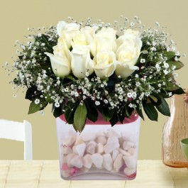 Arrangement of White Roses, AZ#4230 Arrangement of White Roses
