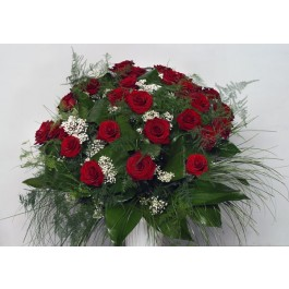 Ramo de 35 rosas rojas de tallo largo, BG#BG1010 Ramo de 35 rosas rojas de tallo largo