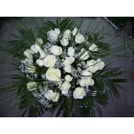 Ramo de 25 rosas blanco de tallo largo, BG#BG1021 Ramo de 25 rosas blanco de tallo largo