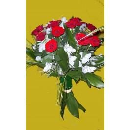 Ramo de 15 rosas rojas de tallo largo, BG#BG1022 Ramo de 15 rosas rojas de tallo largo