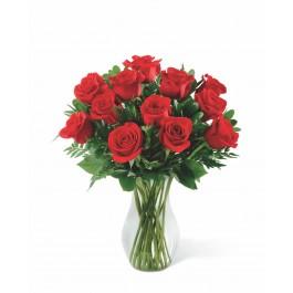 12 rosas de tallo medio, BR#12RM 12 rosas de tallo medio