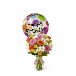 Birthday Cheer Bouquet - Vase included, BS#D4-4902 Birthday Cheer Bouquet - Vase included