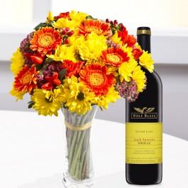 Ramo mixto redondo con vino, BY#542 Ramo mixto redondo con vino