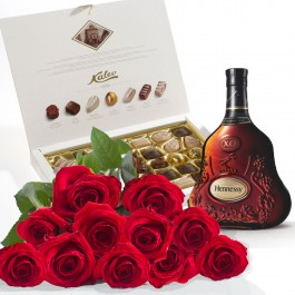 Ramo de 15 rosas acompañadas de 50cl. de Coñac  y de un magn, BY#583 Ramo de 15 rosas acompañadas de 50cl. de Coñac  y de un magn
