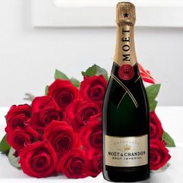 Ramo de 15 rosas acompañadas de Champaña de excepción  75 CL, BY#584 Ramo de 15 rosas acompañadas de Champaña de excepción  75 CL