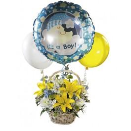 Ramo con Balloons - para un niño!, BZ#FTD405 Ramo con Balloons - para un niño!
