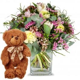 Tender Spring Greetings with teddy bear (brown), Tender Spring Greetings with teddy bear (brown)