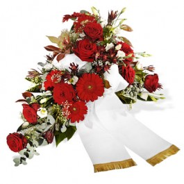 Ramo funerario con cinta, DE#FLBR Ramo funerario con cinta