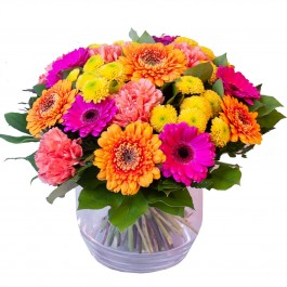 A colorful surprise in a glass vase,  A colorful surprise in a glass vase
