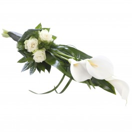 White -green funeral bouquet, White -green funeral bouquet