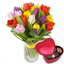 Colourful Bouquet of Tulips + Chocolate heart, Colourful Bouquet of Tulips + Chocolate heart