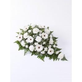 Carnation and Germini Teardrop Spray  White, GB#500435.Carnation and Germini Teardrop Spray  White
