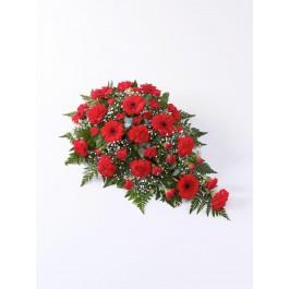 Carnation and Germini Teardrop Spray Red, GB#500436.Carnation and Germini Teardrop Spray Red