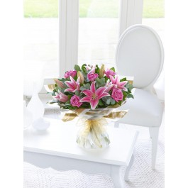 Pink Rose and Lily Hand Tied, GB#500537.Pink Rose and Lily Hand Tied