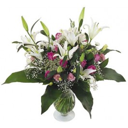 Big Lilies and Roses bouquet, GR#16220 Big Lilies and Roses bouquet