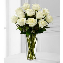 The White Rose Bouquet by FTD® - VASE INCLUDED, The White Rose Bouquet by FTD® - VASE INCLUDED