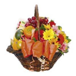 Flores e frutas cesta, HK#2309 Flores e frutas cesta