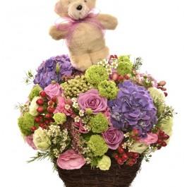 Arrangement of cut flowers with Teddy Bear, Arrangement of cut flowers with Teddy Bear