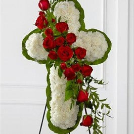 Floral Cross Easel, HN#S12-4464 Floral Cross Easel