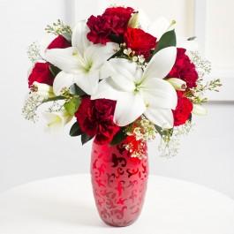 Piros és fehér romantikus csokor , Piros és fehér romantikus csokor