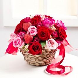Valentin napi virágkosár, Valentin napi virágkosár