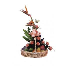 Flores e frutas cesta, ID#2007 Flores e frutas cesta