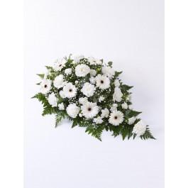 Carnation and Germini Teardrop Spray  White, IE#500435 Carnation and Germini Teardrop Spray  White