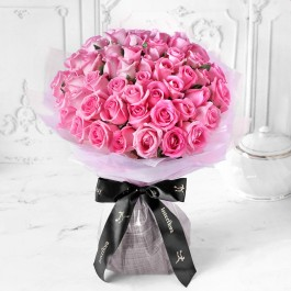 Unforgettable 50 Pink Roses Hand Tied, Unforgettable 50 Pink Roses Hand Tied