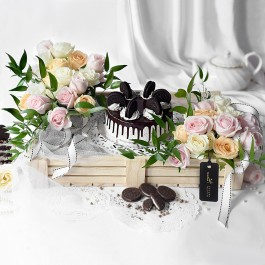 Assorted Flowers with Premium Cake, Assorted Flowers with Premium Cake