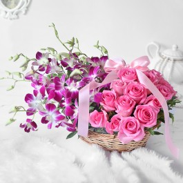 Gorgeous Purple Orchids & Pink Roses in Basket Arrangement, Gorgeous Purple Orchids & Pink Roses in Basket Arrangement