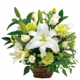 Funeral arrangement in white and green, Funeral arrangement in white and green