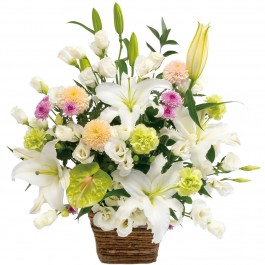 Large sympathy arrangement in white with some pastel colors, Large sympathy arrangement in white with some pastel colors