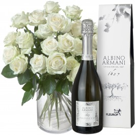 24 White Roses with Prosecco Albino Armani DOC (75cl), 24 White Roses with Prosecco Albino Armani DOC (75cl)