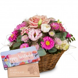 """Basket Filled with Delicate Flowers with bar of chocolate """"H, Basket Filled with Delicate Flowers with bar of chocolate """"H"""