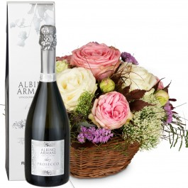A Basket full of Poetry with Roses with Prosecco Albino Arma, A Basket full of Poetry with Roses with Prosecco Albino Arma