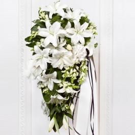 Ramo funerario con cinta, LT#FLBR Ramo funerario con cinta
