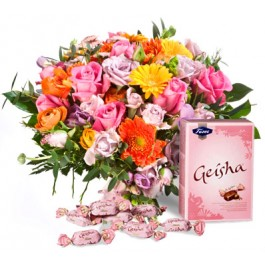 Bright Bouquet with Geisha candies, LV#EE601 Bright Bouquet with Geisha candies