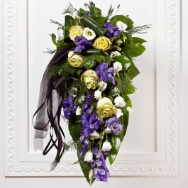 Funeral Spray With Ribbon, LV#EE801 Funeral Spray With Ribbon
