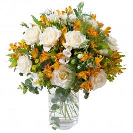 Bouquet rond crème et orange (sans vase), MC#2EL Bouquet rond crème et orange (sans vase)