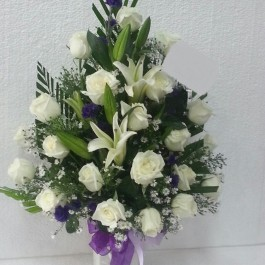 Funeral spray/arrangement with ribbon, Funeral spray/arrangement with ribbon