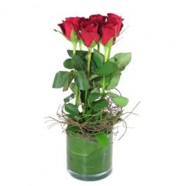 6 Red Roses in Vase, 6 Red Roses in Vase
